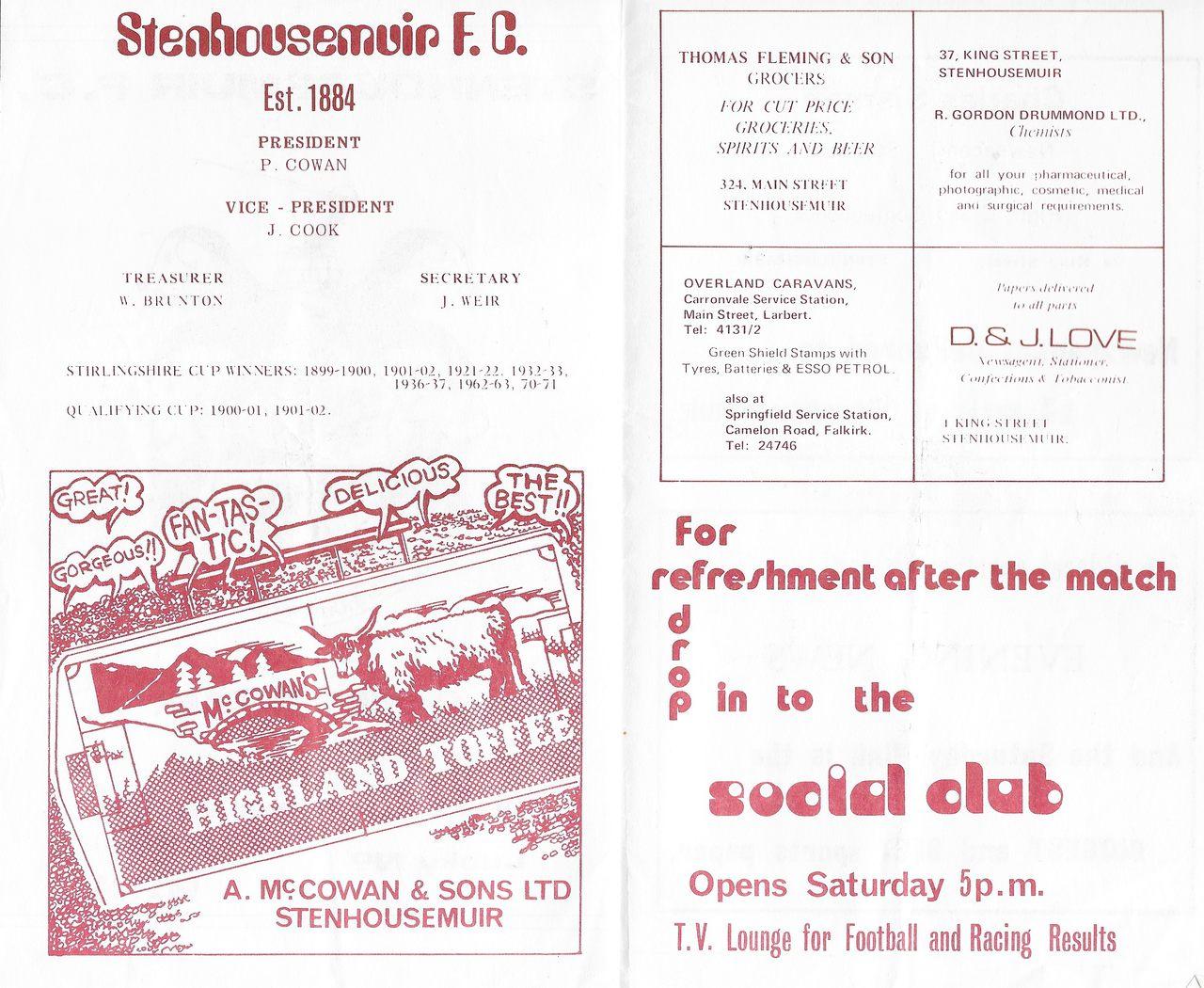 McCowan's and Stenhousemuir FC